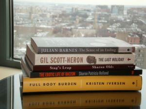 The books that I acquired at MLA with the view of downtown Boston from my hotel room window in the background.