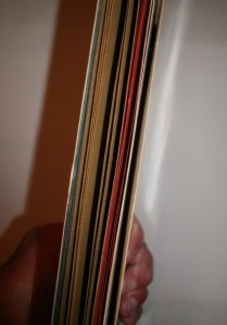 A view of the book with the different-colored sections visible.