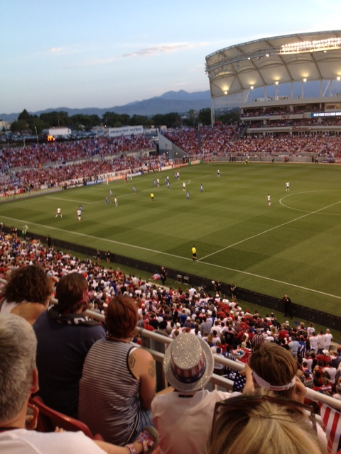 Second half action with the Oquirrh mountains in the background.