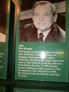 Long-time Met broadcaster Bob Murphy's plaque in the broadcaster's wing.