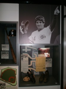 A display celebrating Pete Rose's all-time hits record. At least the Hall acknowledges his existence.