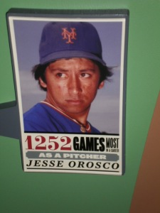 A sign celebrating Jesse Orosco's record for games pitched.