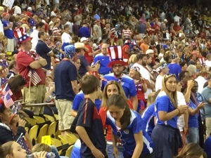 The sea of red, white, and blue-clad fans before the match.