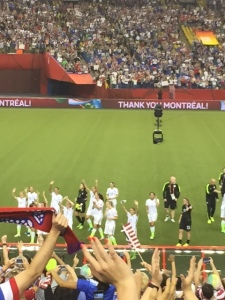 The U.S. players saluting the fans after the match.