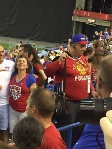 There was a random guy wearing a Russian hockey sweater, which was interesting considering that Russia did not even make the tournament. It is difficult to see, but he had pins from a variety of teams and events spangled across his chest.