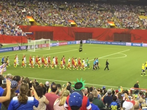 "The two teams walking out onto the pitch before the match. The crowd was so loud that it drowned out the beginning of ""The Star-Spangled Banner."""